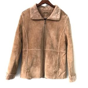 Vintage GUESS Genuine Leather Faux Fur Lined Coat